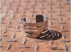 Nerezový náramek plochý drážky leštěný