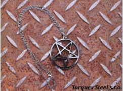 Řetízek pentagram - černé plexisklo