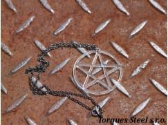 Řetízek pentagram - čiré plexisklo