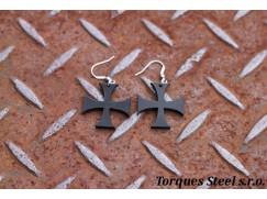 Naušnice kříž templářský 29 mm Černý
